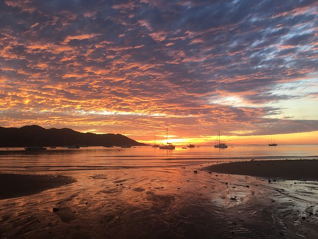 red sunset over Magnetic Island